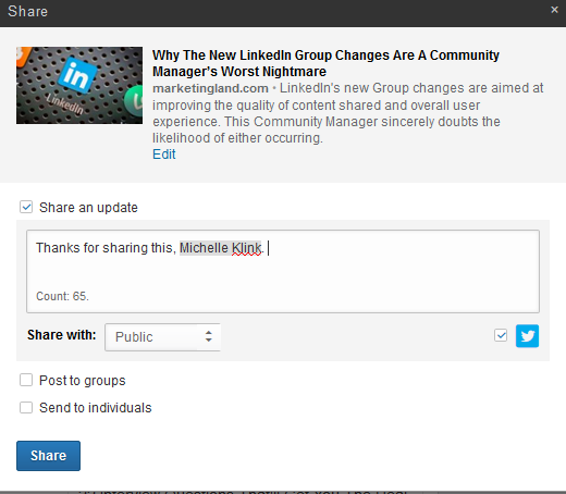 Acknowlegdge curators on LinkedIn